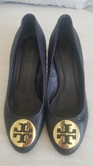 Tory Burch Sally Pumps Navy Blue Wedges Image 1
