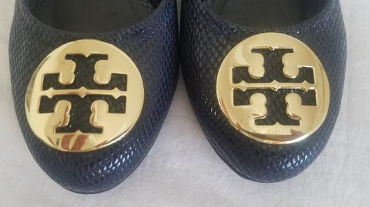 Tory Burch Sally Pumps Navy Blue Wedges Image 5