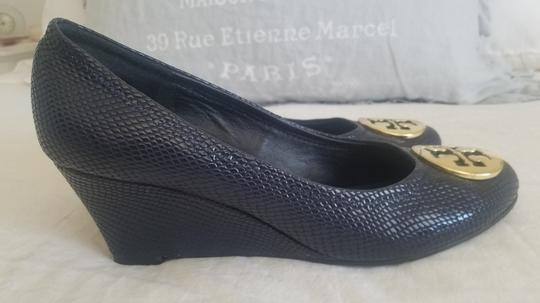 Tory Burch Sally Pumps Navy Blue Wedges Image 7
