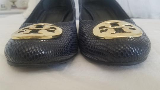 Tory Burch Sally Pumps Navy Blue Wedges Image 9