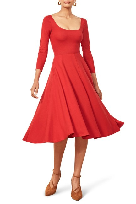 Reformation short dress Lipstick Red Midi Lou Jersey Fit And Flare on Tradesy Image 9
