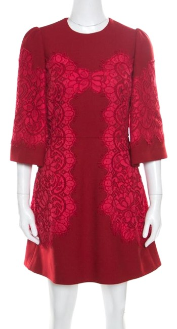 Preload https://img-static.tradesy.com/item/25671454/dolce-and-gabbana-red-floral-lace-applique-detail-fit-and-flare-short-casual-dress-size-4-s-0-1-650-650.jpg