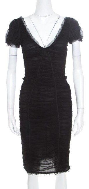 Preload https://img-static.tradesy.com/item/25671524/dolce-and-gabbana-black-stretch-cotton-tulle-ruched-plunge-neck-fitted-short-casual-dress-size-8-m-0-1-650-650.jpg
