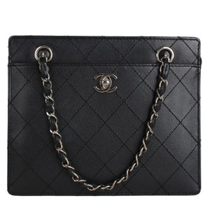 Chanel Timeless Caviar Leather Vintage Satchel in Black