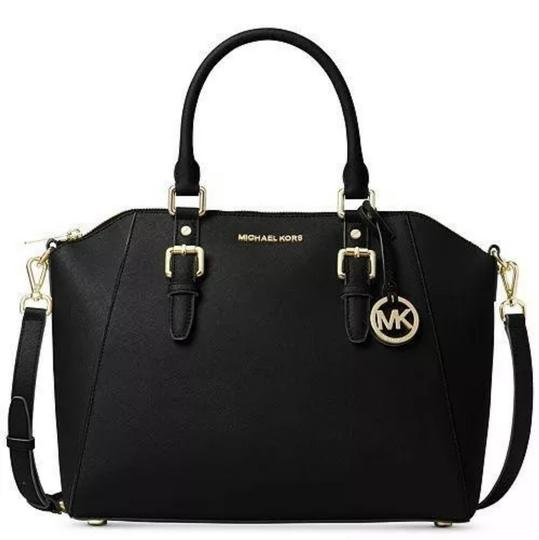 Preload https://img-static.tradesy.com/item/25671714/michael-kors-ciara-large-top-black-saffiano-leather-satchel-0-0-540-540.jpg