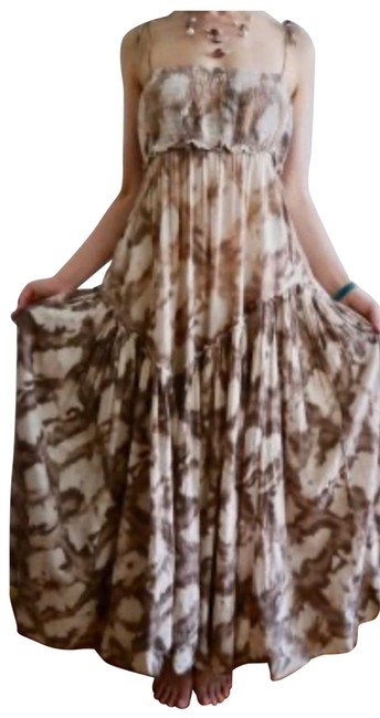 Item - Brown Beige and White Ct Ltd Long Casual Maxi Dress Size 4 (S)