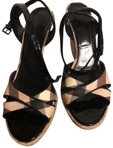 Burberry Black and Cream Wedges