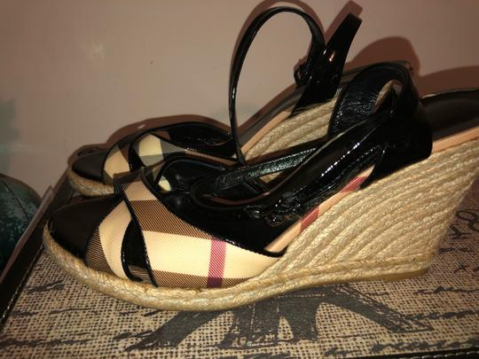 Burberry Black and Cream Wedges Image 1