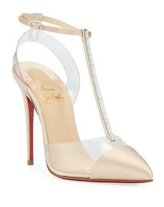 Christian Louboutin Nosy Pvc T Strap Crystal Strass Nude Pumps