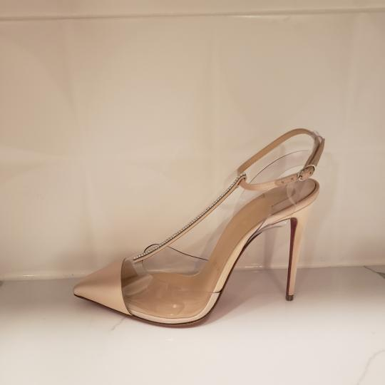 Christian Louboutin Nosy Pvc T Strap Crystal Strass Nude Pumps Image 1