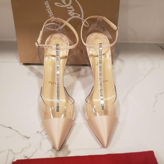 Christian Louboutin Nosy Pvc T Strap Crystal Strass Nude Pumps Image 3