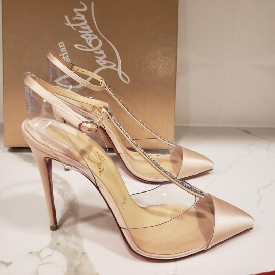 Christian Louboutin Nosy Pvc T Strap Crystal Strass Nude Pumps Image 4