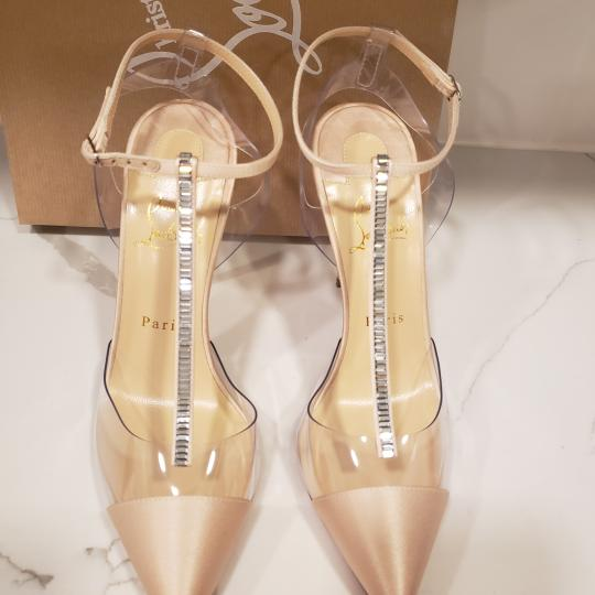 Christian Louboutin Nosy Pvc T Strap Crystal Strass Nude Pumps Image 5