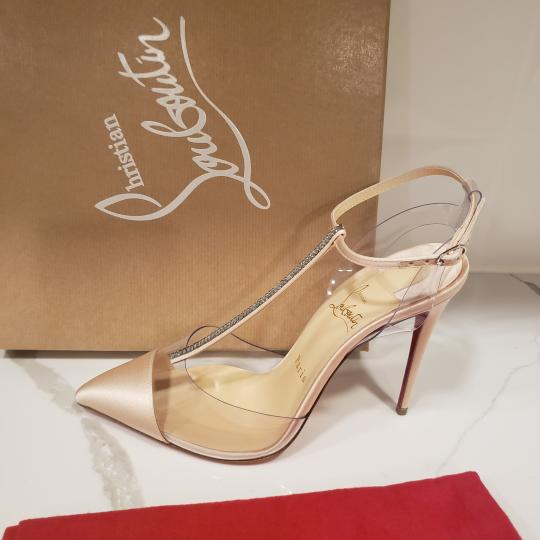 Christian Louboutin Nosy Pvc T Strap Crystal Strass Nude Pumps Image 6