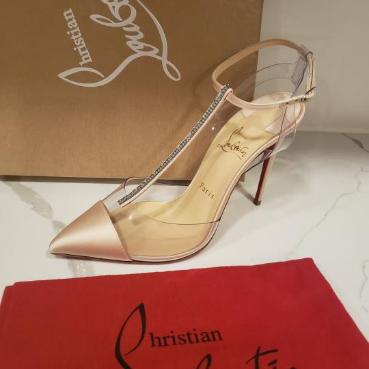 Christian Louboutin Nosy Pvc T Strap Crystal Strass Nude Pumps Image 8