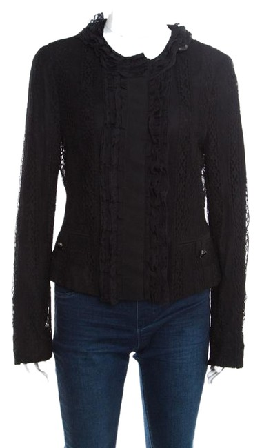 Preload https://img-static.tradesy.com/item/25671820/dolce-and-gabbana-black-striped-lace-ruffle-trim-button-front-jacket-size-8-m-0-1-650-650.jpg