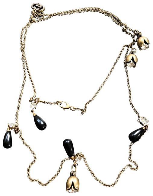 Item - Gold Black Gg Strass Crystal Dangle Bead Charm Long Chain Rose Necklace
