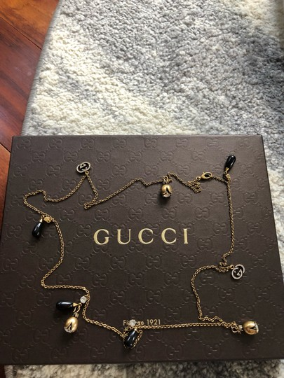 Gucci Gucci GG Strass Crystal Dangle Bead Charm Long Chain Rose Necklace Image 7