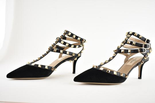 Valentino Studded Pointed Toe Leather Ankle Strap Stiletto black Pumps Image 8