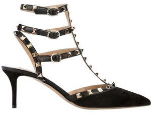 Valentino Studded Pointed Toe Leather Ankle Strap Stiletto black Pumps