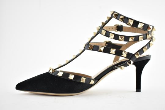 Valentino Studded Pointed Toe Leather Ankle Strap Stiletto black Pumps Image 7