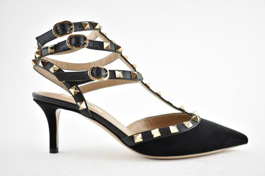 Valentino Studded Pointed Toe Leather Ankle Strap Stiletto black Pumps Image 1