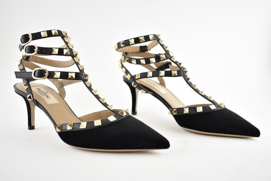 Valentino Studded Pointed Toe Leather Ankle Strap Stiletto black Pumps Image 3
