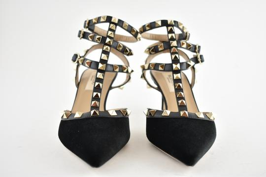Valentino Studded Pointed Toe Leather Ankle Strap Stiletto black Pumps Image 4