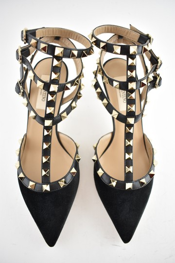 Valentino Studded Pointed Toe Leather Ankle Strap Stiletto black Pumps Image 6