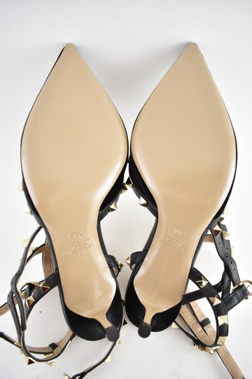 Valentino Studded Pointed Toe Leather Ankle Strap Stiletto black Pumps Image 10