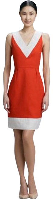 Item - Red and White Sleeveless Color Block Mid-length Short Casual Dress Size 4 (S)