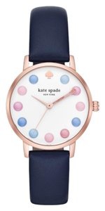 Kate Spade NWT new york pink IP and blue leather metro watch KSW1454
