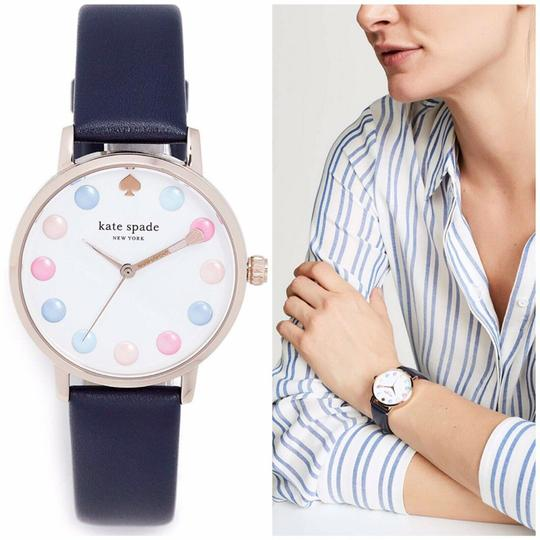 Kate Spade NWT new york pink IP and blue leather metro watch KSW1454 Image 1