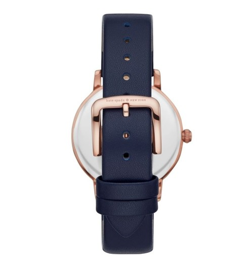 Kate Spade NWT new york pink IP and blue leather metro watch KSW1454 Image 2