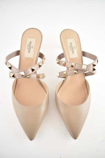 Valentino Studded Pointed Toe Leather Ankle Strap Stiletto Nude Pumps Image 5