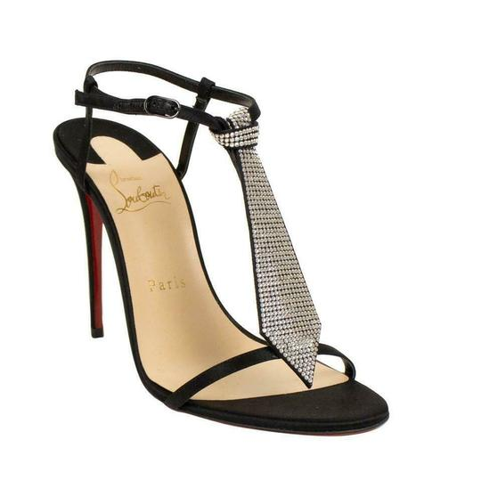 Christian Louboutin T Strap Crystal Strass Tie Black Sandals Image 1