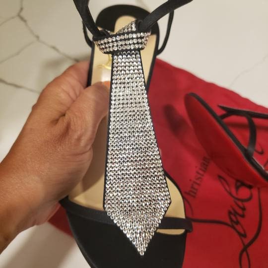Christian Louboutin T Strap Crystal Strass Tie Black Sandals Image 10