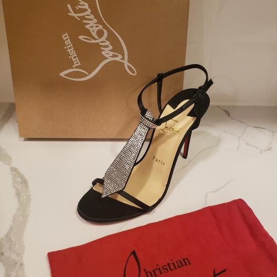 Christian Louboutin T Strap Crystal Strass Tie Black Sandals Image 11