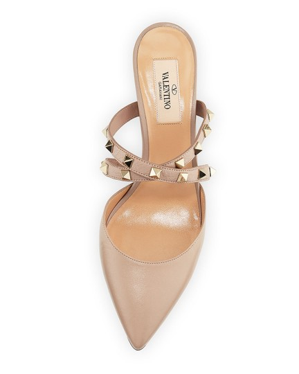 Valentino Studded Pointed Toe Leather Ankle Strap Stiletto Nude Pumps Image 4