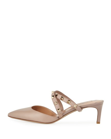 Valentino Studded Pointed Toe Leather Ankle Strap Stiletto Nude Pumps Image 6