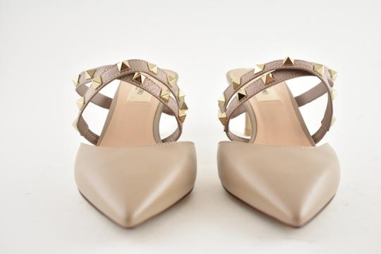 Valentino Studded Pointed Toe Leather Ankle Strap Stiletto Nude Pumps Image 3