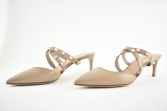 Valentino Studded Pointed Toe Leather Ankle Strap Stiletto Nude Pumps Image 8