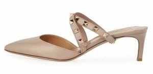 Valentino Studded Pointed Toe Leather Ankle Strap Stiletto Nude Pumps
