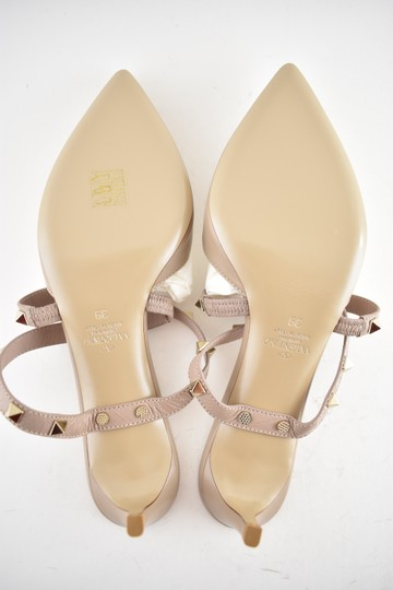 Valentino Studded Pointed Toe Leather Ankle Strap Stiletto Nude Pumps Image 10