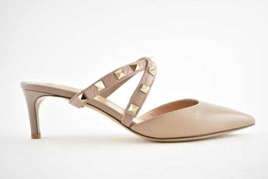 Valentino Studded Pointed Toe Leather Ankle Strap Stiletto Nude Pumps Image 1