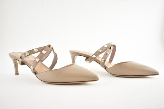 Valentino Studded Pointed Toe Leather Ankle Strap Stiletto Nude Pumps Image 2