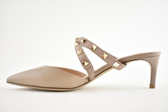 Valentino Studded Pointed Toe Leather Ankle Strap Stiletto Nude Pumps Image 7