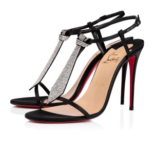 Christian Louboutin T Strap Crystal Strass Tie Black Sandals