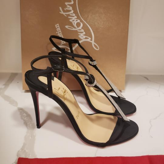 Christian Louboutin T Strap Crystal Strass Tie Black Sandals Image 4