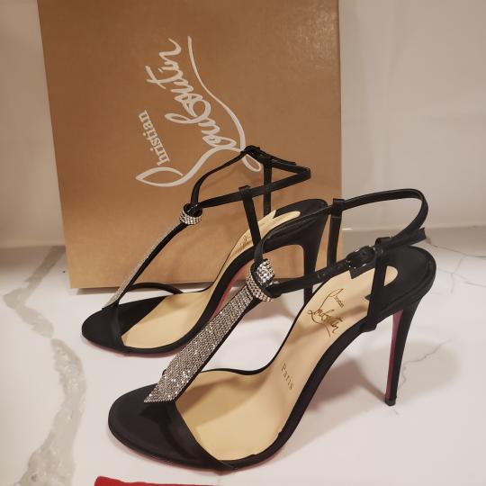 Christian Louboutin T Strap Crystal Strass Tie Black Sandals Image 5